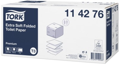 Tork: Бумага туалетная T3 Premium 252 листа листовая двухслойная114276 Image 1