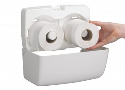 Диспенсер Аквариус для туал.бумаги на 2 стандартных рулона, бел./30×18×13 см  6992 Image 1