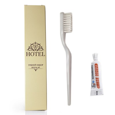 Зубной набор HOTEL (зубная щетка +зубная паста в ТЮБИКЕ 3гр.с отламывающимся колпачком), в КАРТОНЕ Image 1